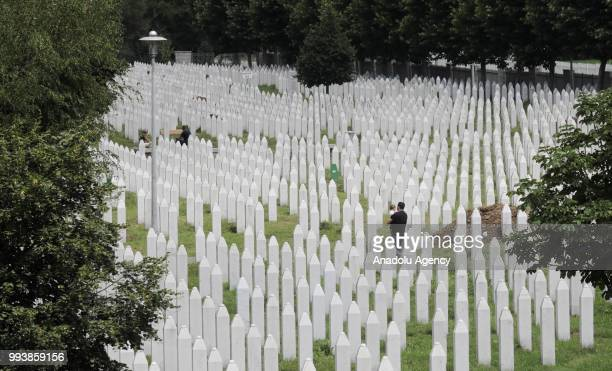 Gravestones are seen as victims' graves are prepared ahead of funeral ceremony of identified 35 people, who died in the Srebrenica Massacre and will...