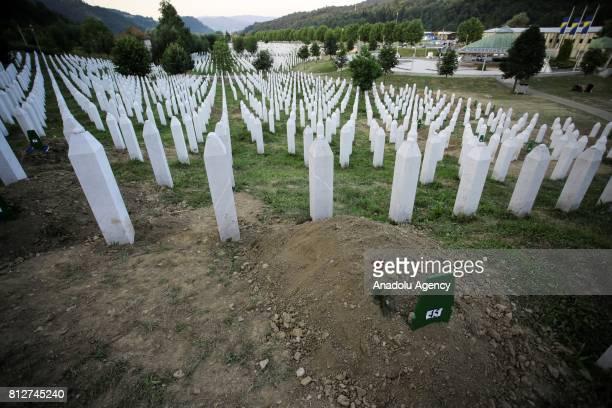 Gravestones are seen at the Potocari Memorial Cemetery in Srebrenica Bosnia and Herzegovina on the 22nd anniversary of the Srebrenica genocide July...