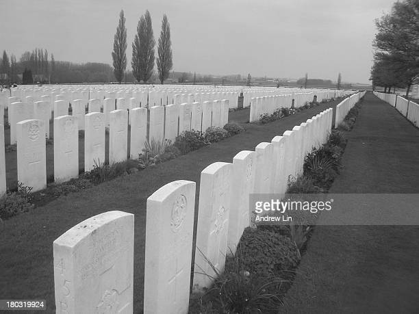 CONTENT] Gravestones arranged in rows at Tyne Cot Cemetery in Ypres Belgium Each country has its own design