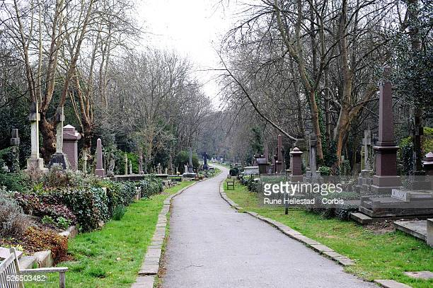 Gravestones in Highgate Cemetery in London