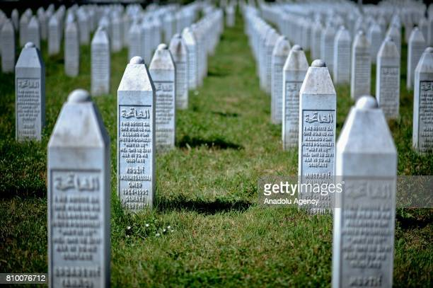 Gravestones of victims are seen ahead of funeral ceremony of 70 people who died in the Srebrenica Massacre and will be buried during the 22nd...