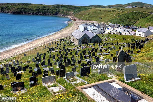 graveyard above aberdaron beach - wales stock pictures, royalty-free photos & images