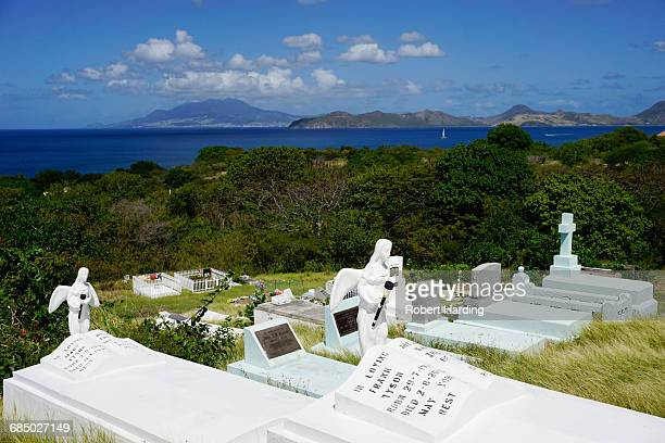 graveyard at s. thomas anglican church built in 1643, nevis, st. kitts and nevis, leeward islands, west indies, caribbean, central america - rest in peace stock pictures, royalty-free photos & images
