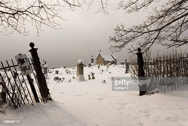 Graveyard Entrance in Snowy Overcast Winter Day, Cemetery View