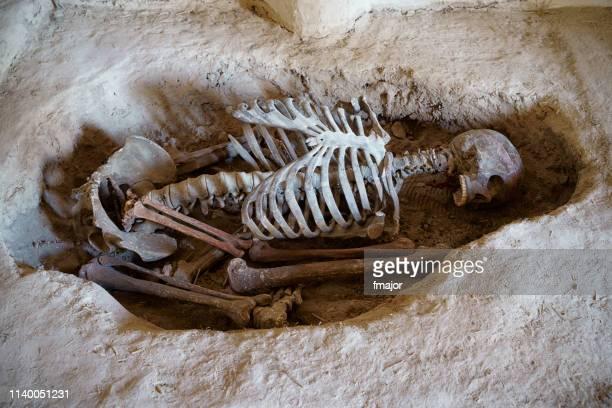 graveyard in catalhoyuk, konya, turkey - tomb stock pictures, royalty-free photos & images