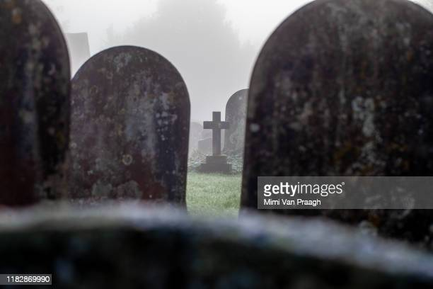 graveyard in the fog - funeral stock pictures, royalty-free photos & images