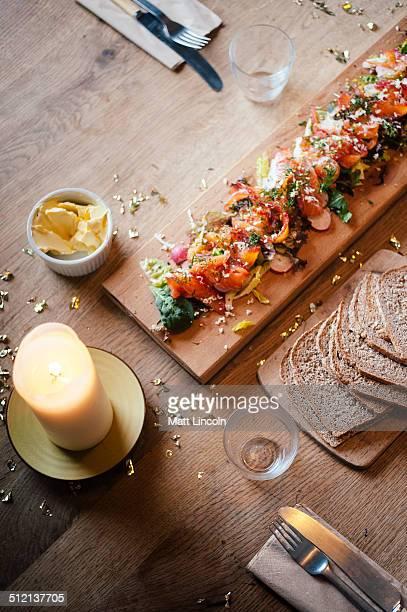 Gravlax salmon salad, still life