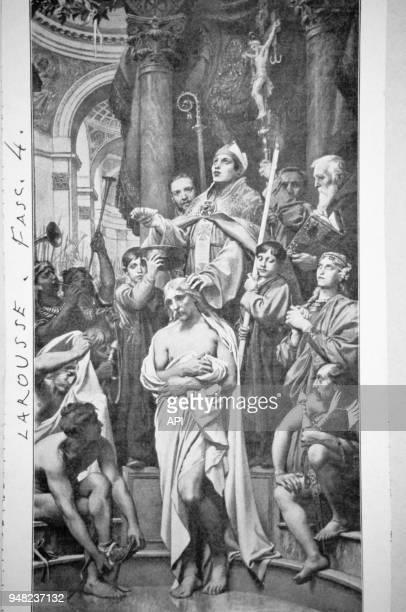Gravure d'après peinture du 'Baptême de Clovis' à Reimspar le graveur français JosephPaul Blanc France