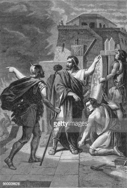 Gravure du 19ème siècle sur la légende des miroirs d'Archimède, lors du siège de Syracuse par les Romains.