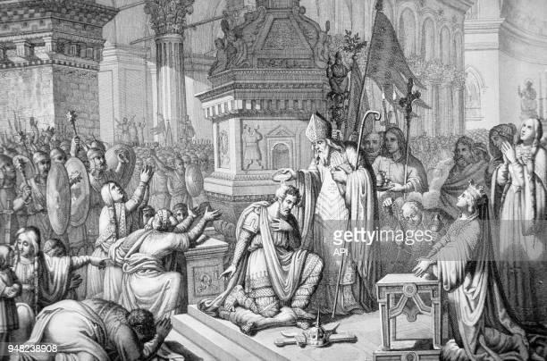 Gravure du baptême de Clovis à Reims France