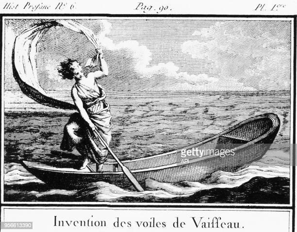 Gravure d'un livre intitulé 'Abrégé de l'histoire universelle en figures' par Vauvillers aux éditions DuflosLe Jeune en 1850 et représentant...