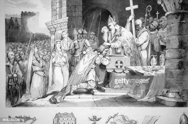 Gravure historique du 19ème siècle sur Saint Rémi baptisant le roi des Francs Clovis à Reims France