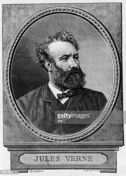 Gravure représentant Jules Verne qui figurait à l'origine sur l'édition originale de 'L'Ile mystérieuse' chez J Hetzel