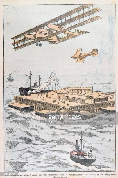Gravure représentant une île flottante pour le ravitaillement des dirigeables et des avions dans 'Le Pèlerin' en 1923