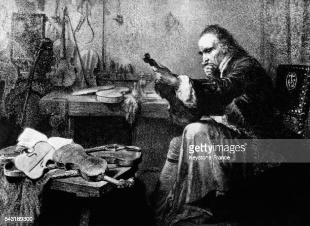 Gravure sur le modèle de celle de Ed Hamman représentant le luthier Antonio Stradivari dans son atelier à Crémone Italie