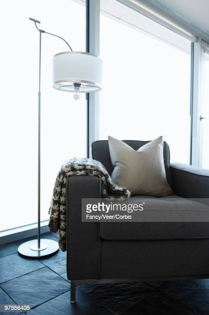 Gray armchair in contemporary home
