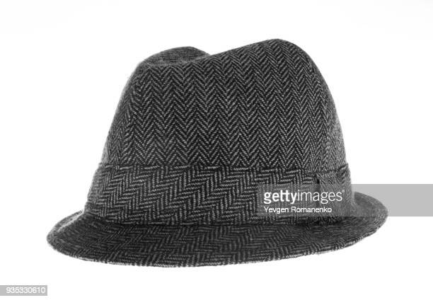 gray felt hat isolated on white background - white hat fashion item stock photos and pictures