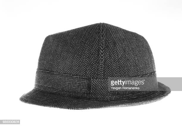 gray felt hat isolated on white background - fedora stock pictures, royalty-free photos & images