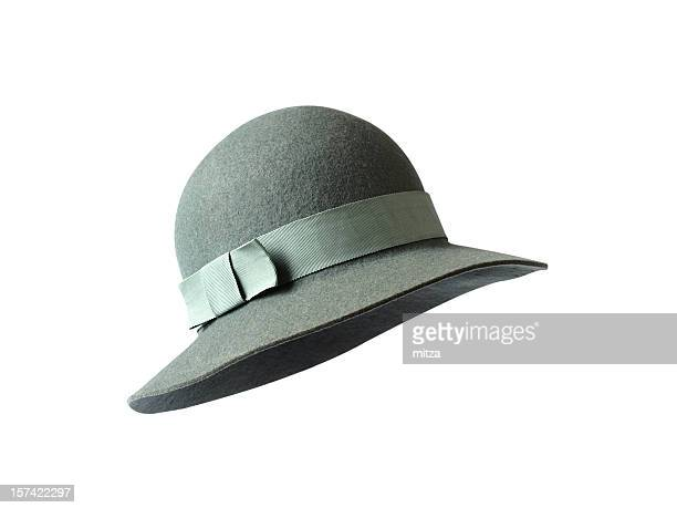 gray felt hat - hat stock photos and pictures