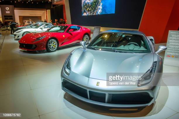 Gray Ferrari 488 GTB and red Ferrari 812 Superfast coupe sportss car front view on display at Brussels Expo on January 10 2018 in Brussels Belgium...