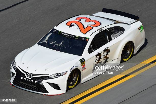 Gray Gaulding driver of the Toyota practices for the Monster Energy NASCAR Cup Series Daytona 500 at Daytona International Speedway on February 10...