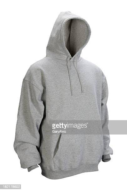 gray hooded, blank sweatshirt front-isolated on white w/clipping path - sweatshirt stock pictures, royalty-free photos & images