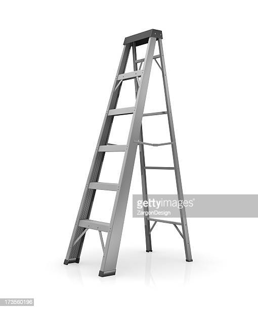 gray ladder on a white background - step ladder stock photos and pictures