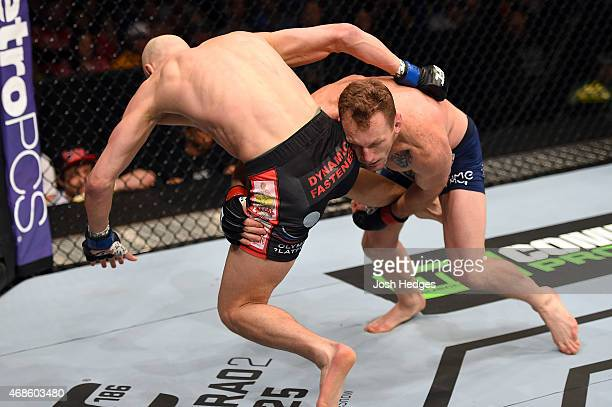 Gray Maynard attempts a takedown against Alexander Yakovlev in their lightweight fight during the UFC Fight Night event at the Patriot Center on...