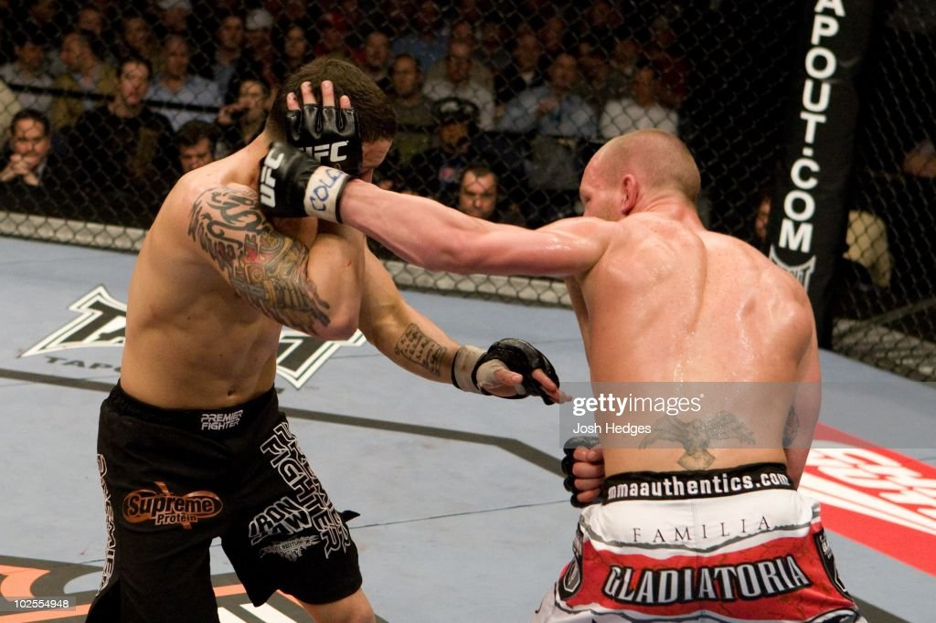 Gray Maynard (white shorts) def. Frankie Edgar (black shorts) - Unanimous Decision during the UFC Fight Night 13 at the Broomfield Event Center on April 2, 2008 in Broomfield, Colorado.
