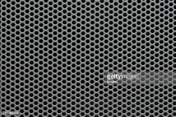 Gray metal mesh background texture on black