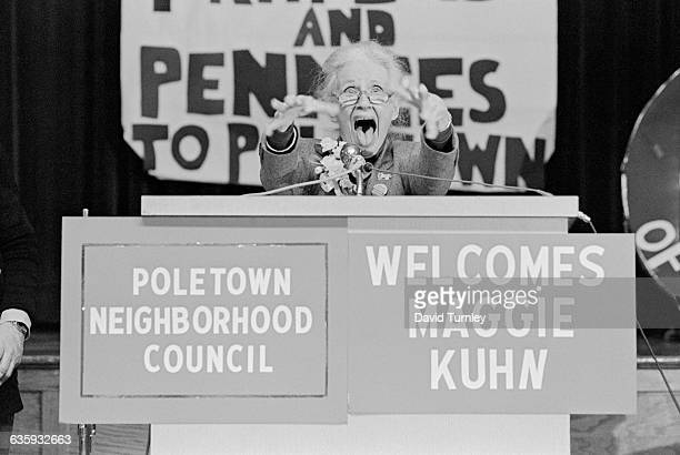 Gray Panthers' founder Maggie Kuhn gestures and screams during her address to the Poletown Neighborhood Council