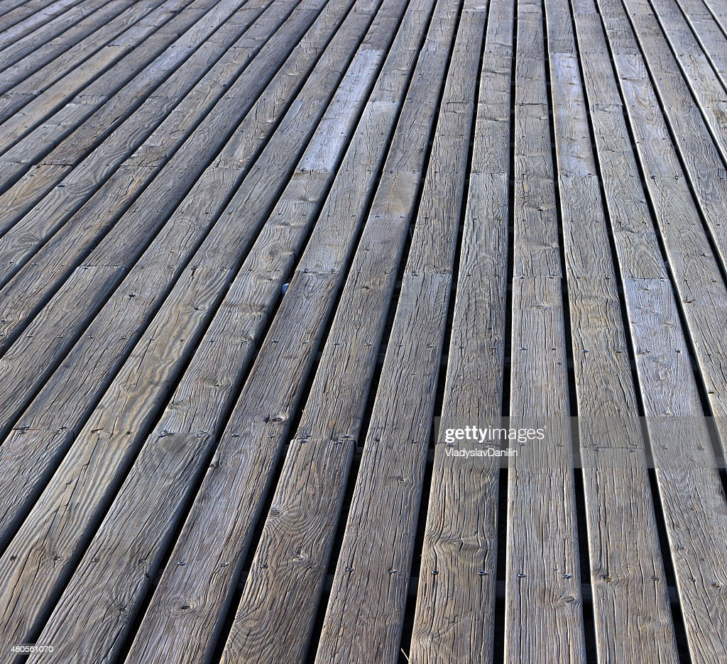 gray plank wooden floor : Stock Photo