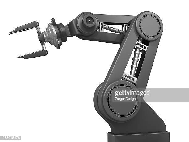 A gray robotic arm isolated on a white background
