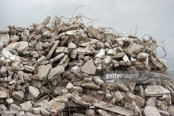 gray rubble at a building site - demolishing stock pictures, royalty-free photos & images