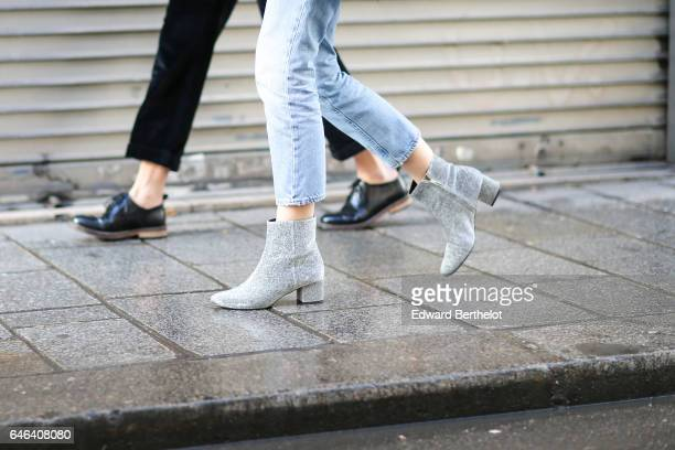 Gray shoes are seen outside the AALTO show during Paris Fashion Week Womenswear Fall/Winter 2017/2018 on February 28 2017 in Paris France