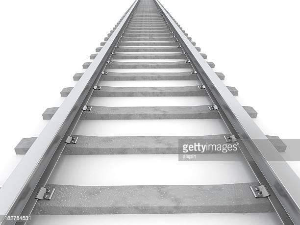 Gray stylized railroad track leading to horizon on white