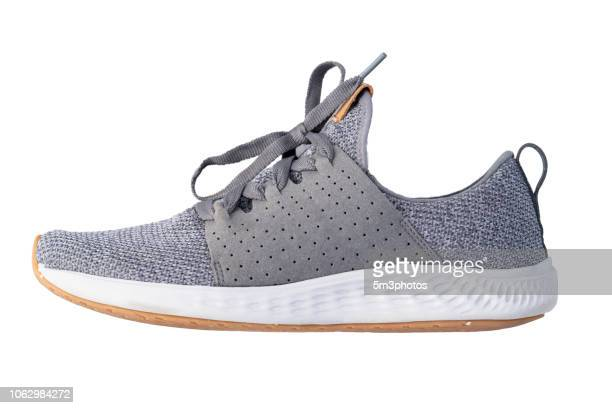 Gray tennis shoe running exercise sneaker copy space