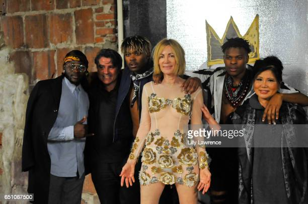 Gray Thierry Ete musical group WAV3POP Karen Bystedt and designer Sonia Ete attend Karen Bystedt's 'Kings And Queens' exhibition on March 9 2017 in...