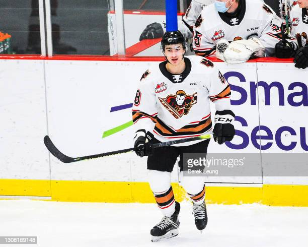 Grayden Siepmann of the Calgary Hitmen in action against the Lethbridge Hurricanes during a WHL game at Seven Chiefs Sportsplex on March 20, 2021 in...