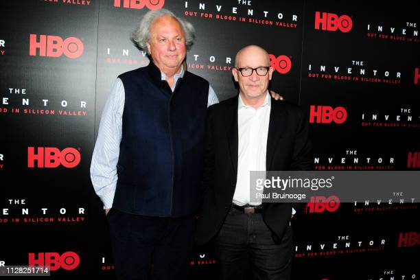 Graydon Carter and Alex Gibney attend HBO Hosts The Premiere Of The Inventor Out For Blood In Silicon Valley at Warner Media Screening Room on...