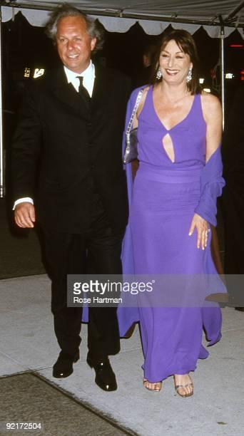 Graydon Carter and Anjelica Huston at the Metropolitan Museum Gala New York ca1990s