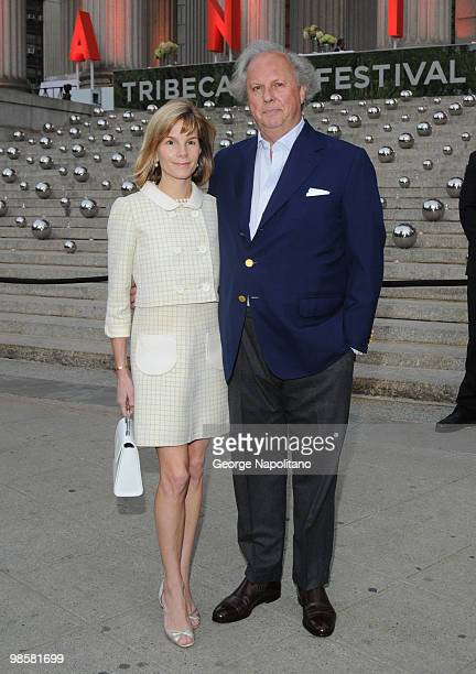 Graydon Carter and Anna Scott Carter arrives at New York State Supreme Court for the Vanity Fair Party during the 2010 Tribeca Film Festival on April...