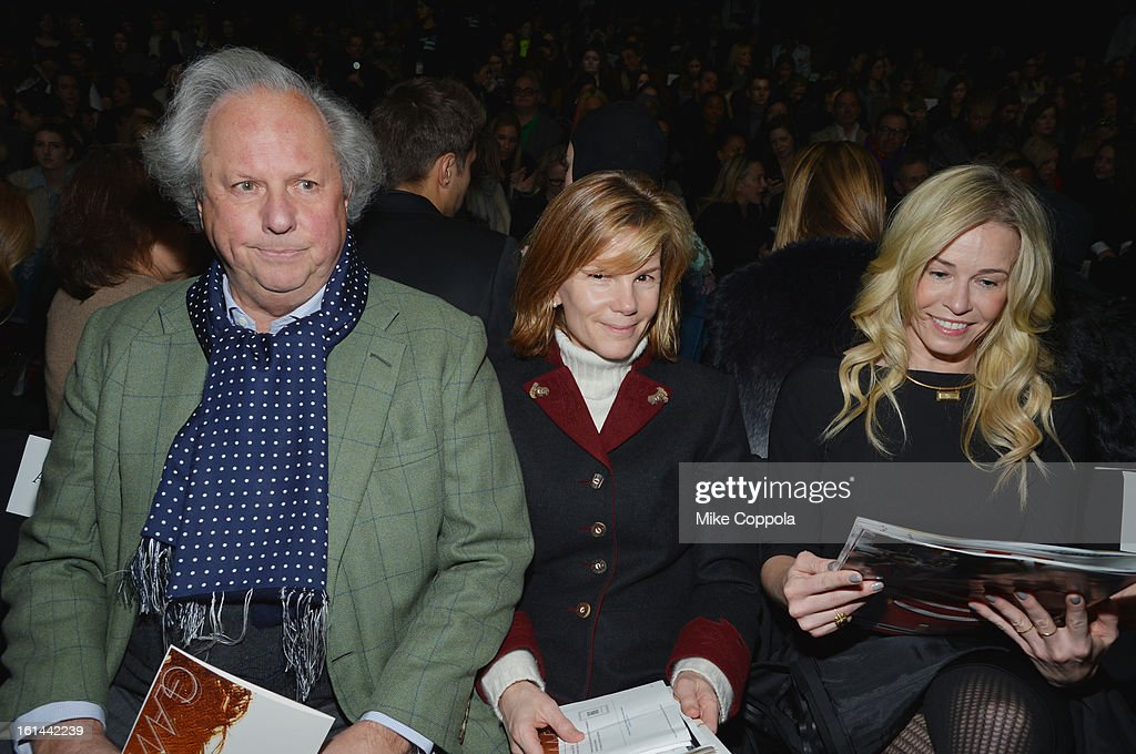 Graydon Carter, Anna Scott Carter and actress Chelsea Handler attend the Diane Von Furstenberg Fall 2013 fashion show during Mercedes-Benz Fashion at The Theatre at Lincoln Center on February 10, 2013 in New York City.