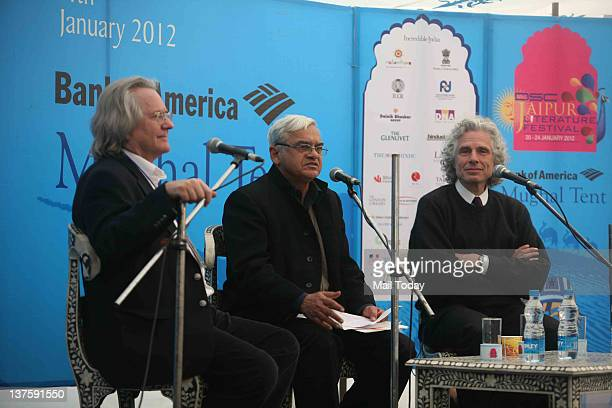 Grayling Vijay Tankha and Harvard University professor Steven Pinker in session 'In Defence of the Enlightenment' during DSC Jaipur Literature...