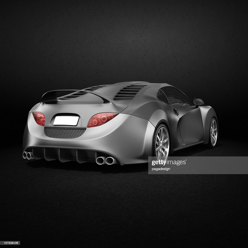 grayscale supercar - tail lights in color : Stock Photo