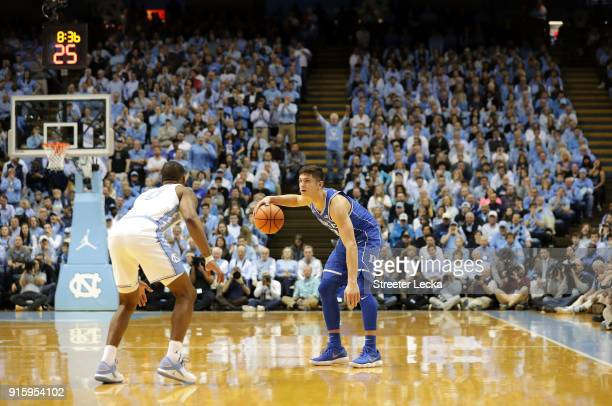 Grayson Allen of the Duke Blue Devils brings the ball up the court against the North Carolina Tar Heels during their game at Dean Smith Center on...