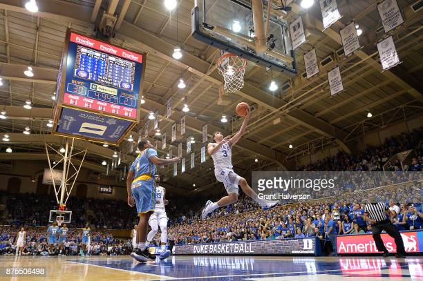 Grayson Allen of the Duke Blue Devils drive3s for a uncontested layup against the Southern University Jaguars during their game at Cameron Indoor...