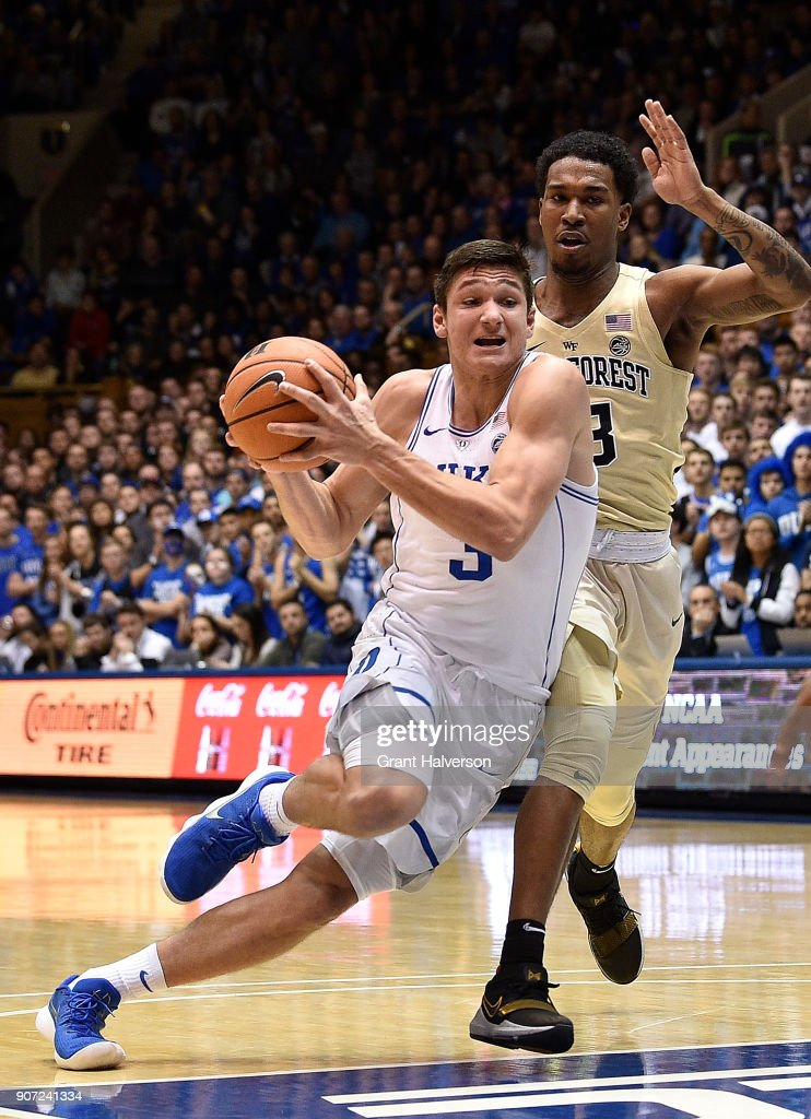 Grayson Allen #3 of the Duke Blue Devils drives against the Wake Forest Demon Deacons during their game at Cameron Indoor Stadium on January 13, 2018 in Durham, North Carolina. Duke won 89-71.