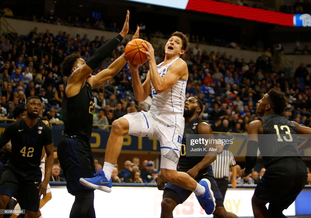 Grayson Allen #3 of the Duke Blue Devils drives the lane against Shamiel Stevenson #23 of the Pittsburgh Panthers at Petersen Events Center on January 10, 2018 in Pittsburgh, Pennsylvania.