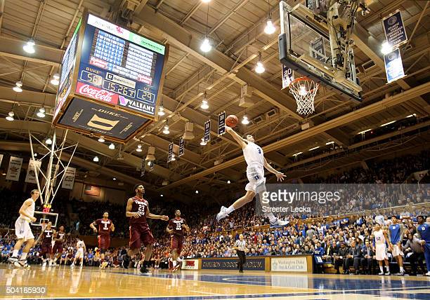 Grayson Allen of the Duke Blue Devils dunks the ball against the Virginia Tech Hokies during their game at Cameron Indoor Stadium on January 9, 2016...